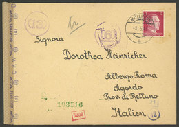GERMANY: Cover Sent From Müllnern To Italy On 8/MAY/1943 Franked With 12Pg., With Several Interesting Censor Marks, VF! - Allemagne