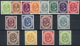 WEST GERMANY: Yvert 9/25, 1951/2 Postal Horn, Cmpl. Set Of 16 MNH Values, VF Quality (the 50Pf. Stamp Has A Small Mark O - [7] République Fédérale