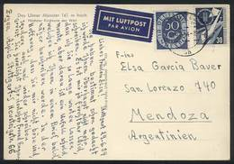 WEST GERMANY: Postcard Sent To Argentina On 29/JUN/1954, Franked By Mi.132 + 170, VF Quality! - [7] République Fédérale