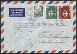 WEST GERMANY: 15/AU/1956 First Flight Of Lufthansa To South America, With Arrival Backstamp And Nice Postage, VF Quality - [7] République Fédérale