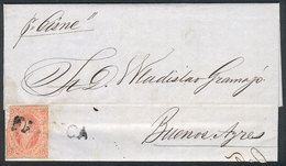 ARGENTINA: GJ.28l, 6th Printing Perforated, IMPERFORATE HORIZONTALLY Var. (defects), Franking An Entire Letter Dated GOY - Argentine