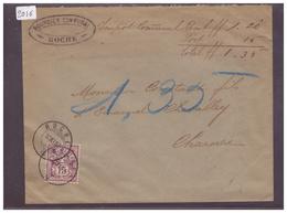 LETTRE AVEC No ZUMSTEIN 64B - BOURSIER COMMUNAL DE ROCHE - 1882-1906 Armoiries, Helvetia Debout & UPU