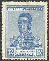 ARGENTINA: GJ.437, 1917 12c. San Martín With VERTICAL HONEYCOMB Wmk, Very Fine Quality, Rare! - Argentine