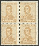 ARGENTINA: GJ.437, 1917 1c. San Martín With HORIZONTAL Honeycomb Wmk And PERF 13½x12½, Superb Block Of 4, The Bottom Sta - Argentine