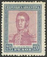 ARGENTINA: GJ.455, 1917 20P. San Martín, Mint Lightly Hinged, VF Quality! - Argentine