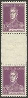 ARGENTINA: GJ.594EHB, 1924 ½c. San Martín, Vertical Pair With WHITE GUTTER, Mint, VF! - Argentine