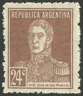 ARGENTINA: GJ.610, 1924 24c. San Martín PERFORATION 13½, MNH (+50%), Excellent And Very Rare! - Argentine