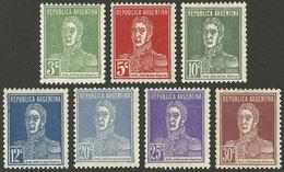 ARGENTINA: GJ.708/714, 1931 San Martín TYPOGRAPHED, Cmpl. Set Of 7 Values, Mint, VF Quality! - Argentine