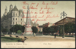 ARGENTINA: BUENOS AIRES: Mayo Square, Ed. R & J Barbieri, Sent From JUAREZ To Tandil On 27/JA/1905, VF Quality! - Argentine