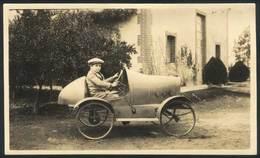 ARGENTINA: Circa 1910, Photograph (postcard Size), Boy Riding A Toy Car, VF Quality, Fantastic! - Argentine