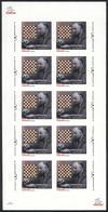ARMENIA: Sc.839, 2010 Henrik Kasparyan, CHESS, Sheet Of 10 IMPERFORATE Values, MNH, Very Rare! - Arménie