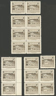 BOLIVIA: Sc.490, Lot Of Overprint VARIETIES: Centenario De Omitted, $b.1.- Omitted, And Several More, All MNH And Of Exc - Bolivia