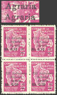 BOLIVIA: Sc.C261a, 1966 Agrarian Reform 10c. On 27B., Block Of 4, One With VARIETY: Agraria - Agraria Instead Of Reforma - Bolivia