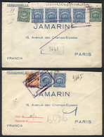 BOLIVIA: 2 Registered Covers Sent To France In 1926 And 1927, With Interesting Frankings, VF Quality! - Bolivia