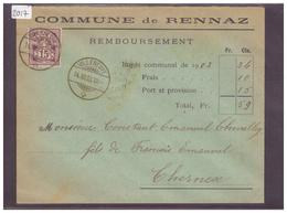 LETTRE AVEC No ZUMSTEIN 64B - COMMUNE DE RENNAZ - 1882-1906 Armoiries, Helvetia Debout & UPU