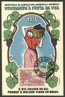 BRAZIL: Grape Festival, Year 1950, Maximum Card With Thematic Stamp, VF! - Brésil