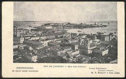 BRAZIL: RIO DE JANEIRO: Rare Postcard With View Of Ilha Das Cobras, Advertising For The Argentine Co. BAGLEY, Manufactur - Brésil