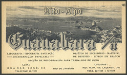 """BRAZIL: Advertising Card Of Library Guanabara, Illustrated With Panorama Of RIO DE JANEIRO, VF, 12 X 7 Cm."""" - Brésil"""