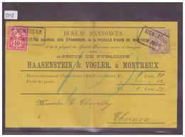 LETTRE AVEC No ZUMSTEIN 58A+61A - BUREAU D'ANNONCE HAASENSTEIN & VOGLER , MONTREUX - ( PLI VERTICAL ) - 1882-1906 Armoiries, Helvetia Debout & UPU