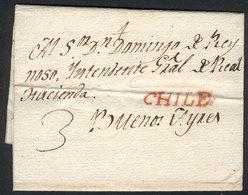 CHILE: 21/JUL/1806 SANTIAGO - Buenos Aires: Entire Letter (short Non-historical Commercial Text) Sent To Sr. Don Domingo - Chili