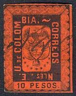 COLOMBIA: Sc.52, 1866 10P. Pen Cancelled, Fine Quality, Rare, Catalog Value US$200. - Colombie