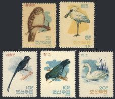 NORTH KOREA: Sc.406/410, 1962 Birds, Cmpl. Set Of 5 MNH Values, Issued Without Gum, VF Quality! - Corée Du Nord