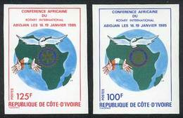 IVORY COAST: Sc.734/5, 1985 Rotary, Set Of 2 Values, IMPERFORATE Variety, VF Quality! - Côte D'Ivoire (1960-...)