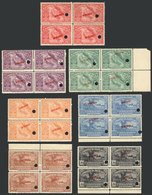 COSTA RICA: Sc.129/135, 1924 Centenary Of Annexation Of Province Of Guanacaste, Set Of 7 Blocks Of 4 With SPECIMEN Overp - Costa Rica