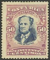 COSTA RICA: Sc.66a, 1907 50c. José Castro Perforation 14, Mint Original Gum, Rare - Costa Rica
