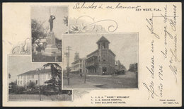 UNITED STATES: KEY WEST, FL: PC Showing Views Of Maine Monument, Marine Hospital, Bank Building And Hotel, Sent From CUB - Etats-Unis