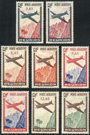 FRANCE - REUNION: Sc.C14/C17, 1943 Set Of 4 Values, WITH And WITHOUT FACE VALUE, VF Quality! - Réunion (1852-1975)