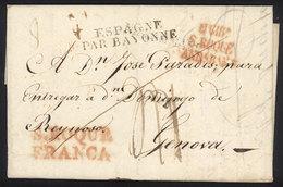 GIBRALTAR: 4/NO/1825 GIBRALTAR - Genova: Entire Letter With A Number Of Postal Markings And Manuscript Postage Dues, Suc - Gibraltar