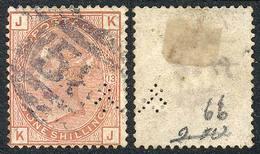 GREAT BRITAIN: Sc.65, 1873/80 1Sh. Salmon, With Small Perfin, Fine Quality, Catalog Value US$700. - Grande-Bretagne