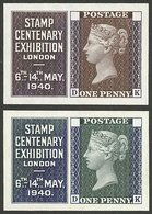 GREAT BRITAIN: 2 Proofs Of Cinderellas Or Stamps For The Stamp Centenary Exhibition Of London 1940, Printed By Waterlow  - Cinderellas