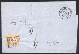 GREECE: 13/OC/1870 KEPKYPA - Venezia: Stampless Folded Cover, Double Circle Datestamp Of Origin, 6 Postage Due Handstamp - Grèce