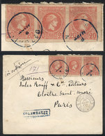 GREECE: Cover Sent To Paris On 8/MAR/1900, Franked With Strip Of 3 Sc.94 (1889/95 20l. Rose, Athens Printing), Very Fine - Grèce