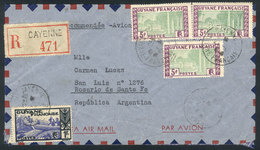 FRENCH GUIANA: 21/JUN/1946 CAYENNE - Argentina: Airmail Cover Franked With 16Fr., To Rosario, Very Rare Destination, VF  - French Guiana (1886-1949)
