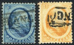 NETHERLANDS: Sc.4 + 6, 1864 5c. Blue + 15c. Orange, Used, VF Quality, Catalog Value US$116 - Non Classés