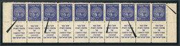 ISRAEL: Yvert 5, 1948 20m. Ultramarine, Strip Of 10 With Tabs (lower Part Of The Sheet), Including Small Varieties (mark - Israel