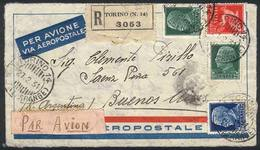 ITALY: Front Of Registered Airmail Cover Sent (via France Aeropostale) From TORINO To Argentina On 27/FE/1931, Very Nice - Italie