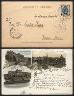 LATVIA: Beautiful Lithograph PC With Views Of Riga, Sent To Argentina On 25/JUL/1896, Excellent Quality, Rare Destinatio - Latvia
