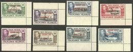 FALKLAND ISLANDS/MALVINAS: Yvert 9/16, 1944 Cmpl. Set Of 8 Overprinted Values, Sheet Corner, MNH (with Hinge Mark In The - Falkland