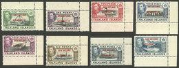 FALKLAND ISLANDS/MALVINAS: Yvert 25/32, 1944 Cmpl. Set Of 8 Overprinted Values, Sheet Corner, MNH, Excellent! - Falkland