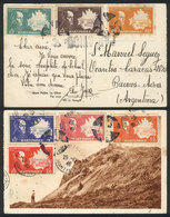MARTINIQUE: PC Franked With 7 Different Stamps, Sent To Argentina On 26/NO/1946, Extremely Rare Destination, VF Quality! - Non Classés