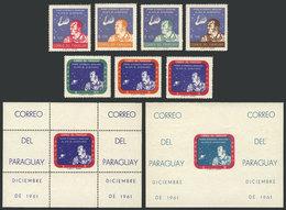 PARAGUAY: Sc.610/616 + 616a + 616a Imperforate, 1961 Astronaut Alan Shepard, Cmpl. Set Of 7 Values + Souvenir Sheet + Im - Paraguay
