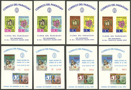 PARAGUAY: Complete Set Of 8 S.sheets Of 1969 (perforated And Imperforate), Topic Flowers And Space Exploration, VF Quali - Paraguay