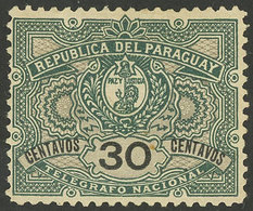 PARAGUAY: Yvert 3, 1892/1901 30c. Mint With Original Gum, Excellent Quality, Rare. With Small Guarantee Mark Of Roumet O - Paraguay