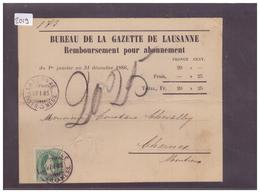 CARTE AVEC No ZUMSTEIN 67Aa ( VERT-BLEU ) - BUREAU DE LA GAZETTE DE LAUSANNE - ( PLI HORIZONTAL ) - 1882-1906 Armoiries, Helvetia Debout & UPU