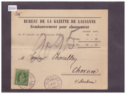 CARTE AVEC No ZUMSTEIN 67A - BUREAU DE LA GAZETTE DE LAUSANNE - ( PLI HORIZONTAL ) - 1882-1906 Armoiries, Helvetia Debout & UPU