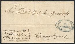 PARAGUAY: Entire Letter Dated 5/OC/1858, Sent To Buenos Aires Con Encomienda De 8 Cajoncitos Y Un ??, Gray-blue ADMON GR - Paraguay